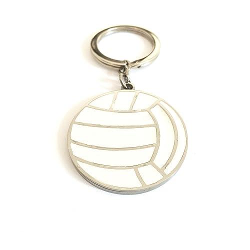 Llavero balón de voleibol de acero y esmalte blanco: Amazon ...