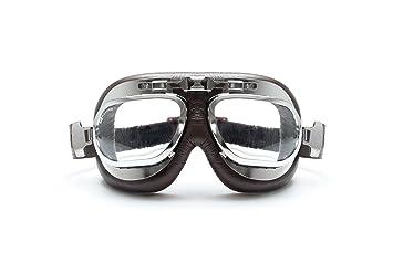 Gafas Moto - Mascara en piel marrón perfil de acero cromo con lentes antihumo y antichoque