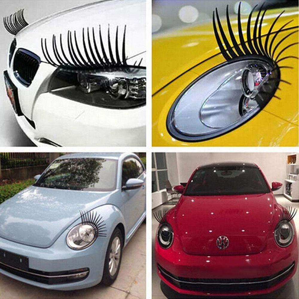 2 pcs,Black Leegoal Car Headlight Eyelashes,3D Car Lashes Special Edition,Long Eye for Headlight Decoration Sticker
