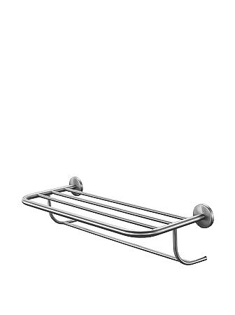 Amazoncom Chrome Wall Hung Hotel Style Bathroom Shelf With Towel