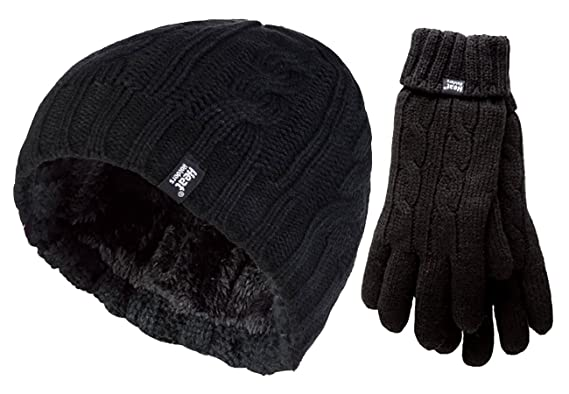322a060ed1a Heat Holders - Ladies thermal winter outdoor fleece insulated hat and glove  set in 7 colours