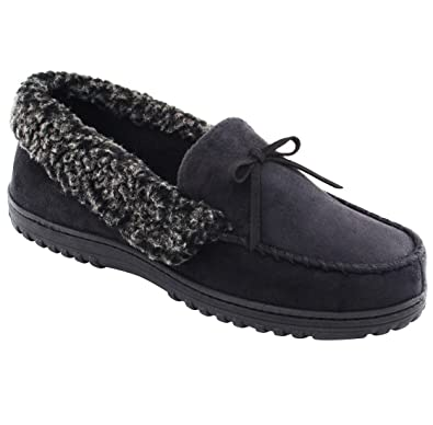 Amazoncom HomeIdeas Mens Faux Fur Lined Suede House Slippers