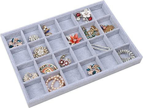 STYLIFING Jewelry Tray Showcase Display Organizer Holder Storage Stackable Grey Velvet 24 Grid Rings Earrings Necklaces Box Gifts for Girls Women