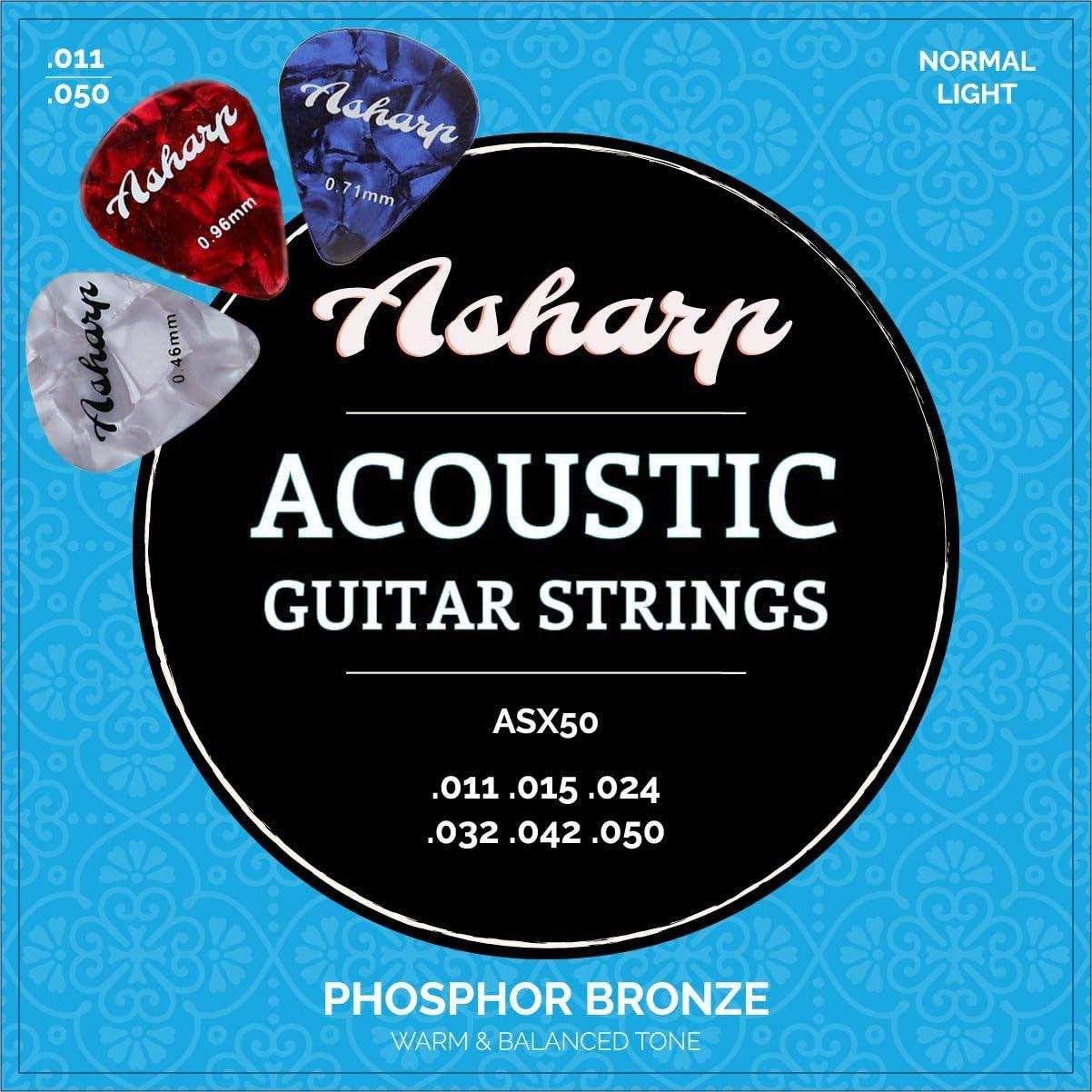 Asharp Cuerdas para guitarra acústica western, incluye 3púas, juego de cuerdas de acero premium para guitarra acústica