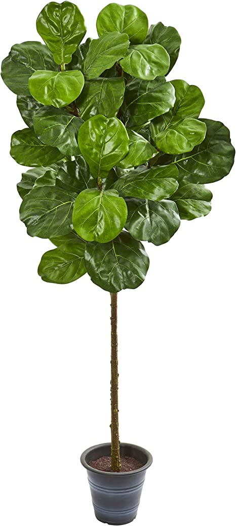 Amazon Com Nearly Natural 5 Ft Fiddle Leaf Artificial Decorative Planter Silk Trees Green Home Kitchen