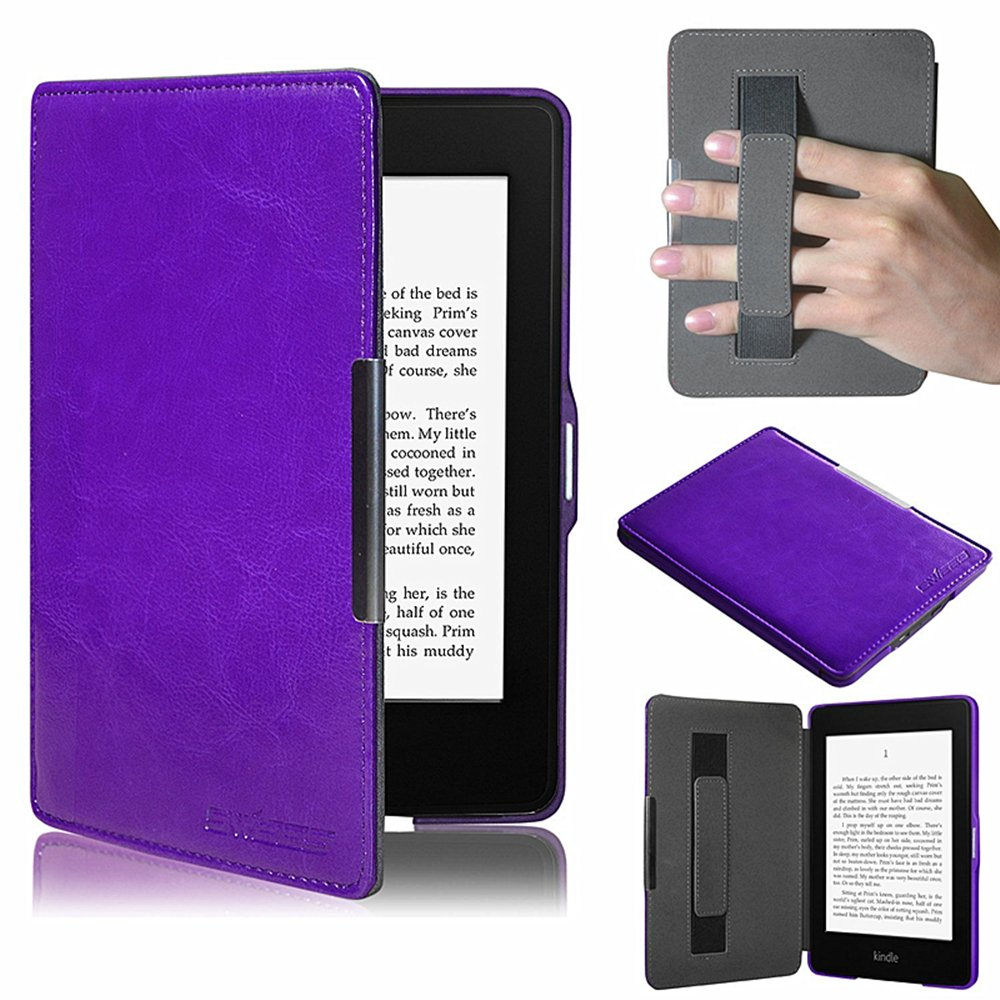 Case for Kindle Paperwhite, Ultra Slim Leather Cover with Hand Strap/ Magnetic Auto Sleep Wake Function for New Amazon Kindle Paperwhite by TuoP(Purple)