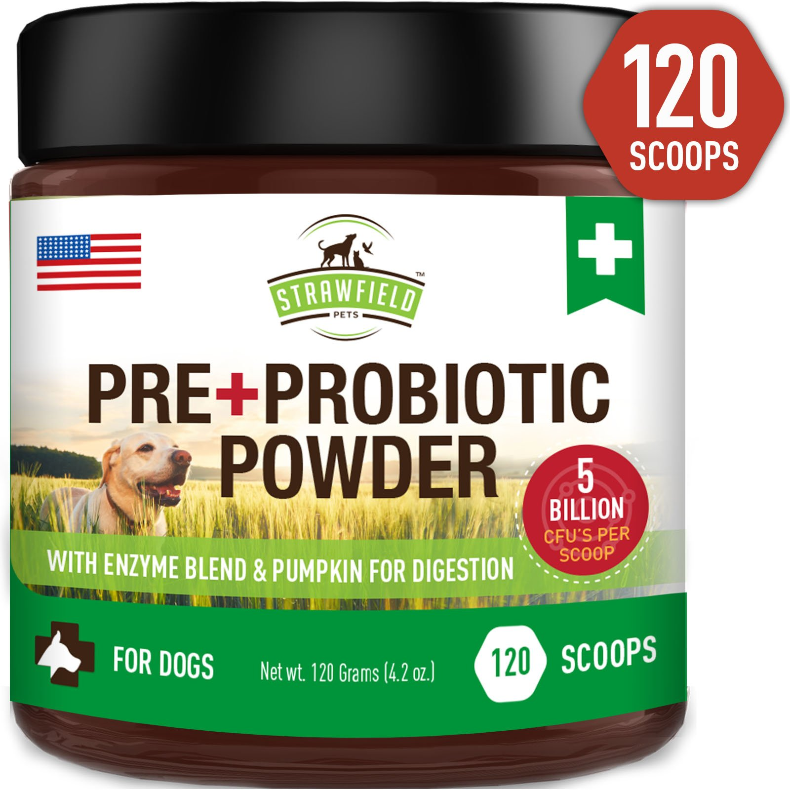 Probiotics for Dogs + Digestive Enzymes, Prebiotics, Pumpkin - 120 Grams 5 Billion CFU - Dog Probiotic Powder Supplement for Pet Allergy Relief, Constipation Immune Support Diarrhea Upset Stomach, USA by Strawfield Pets