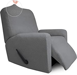 Easy-Going Stretch Jacquard Recliner Couch Cover, 4-Piece Soft Sofa Cover, Sofa Slipcover with Elastic Loop, Washable Furniture Protector for Kids, Pets, Dogs, Cats ( Recliner, Light Gray)