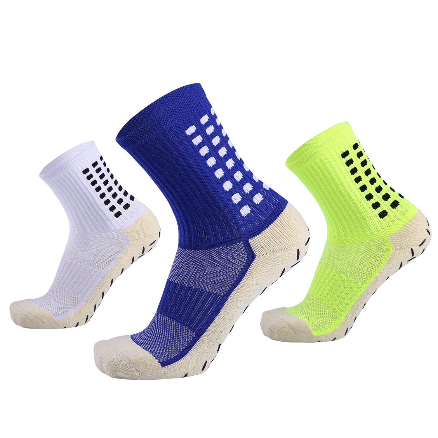 Best For Football Basketball Running Tennis Training Travel,Anti Slip Socks,Non Skid Slipper Hospital Sock with grip for Men Women Boy&Girl(3 Pairs)