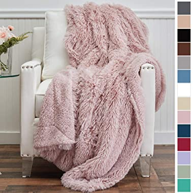 The Connecticut Home Company Luxury Shag Bed Throw Blanket, Twin Size 80x60 Super Soft, Large Wrinkle Resistant Reversible Blankets, Warm Hypoallergenic Washable Throws for Beds, Dusty Rose