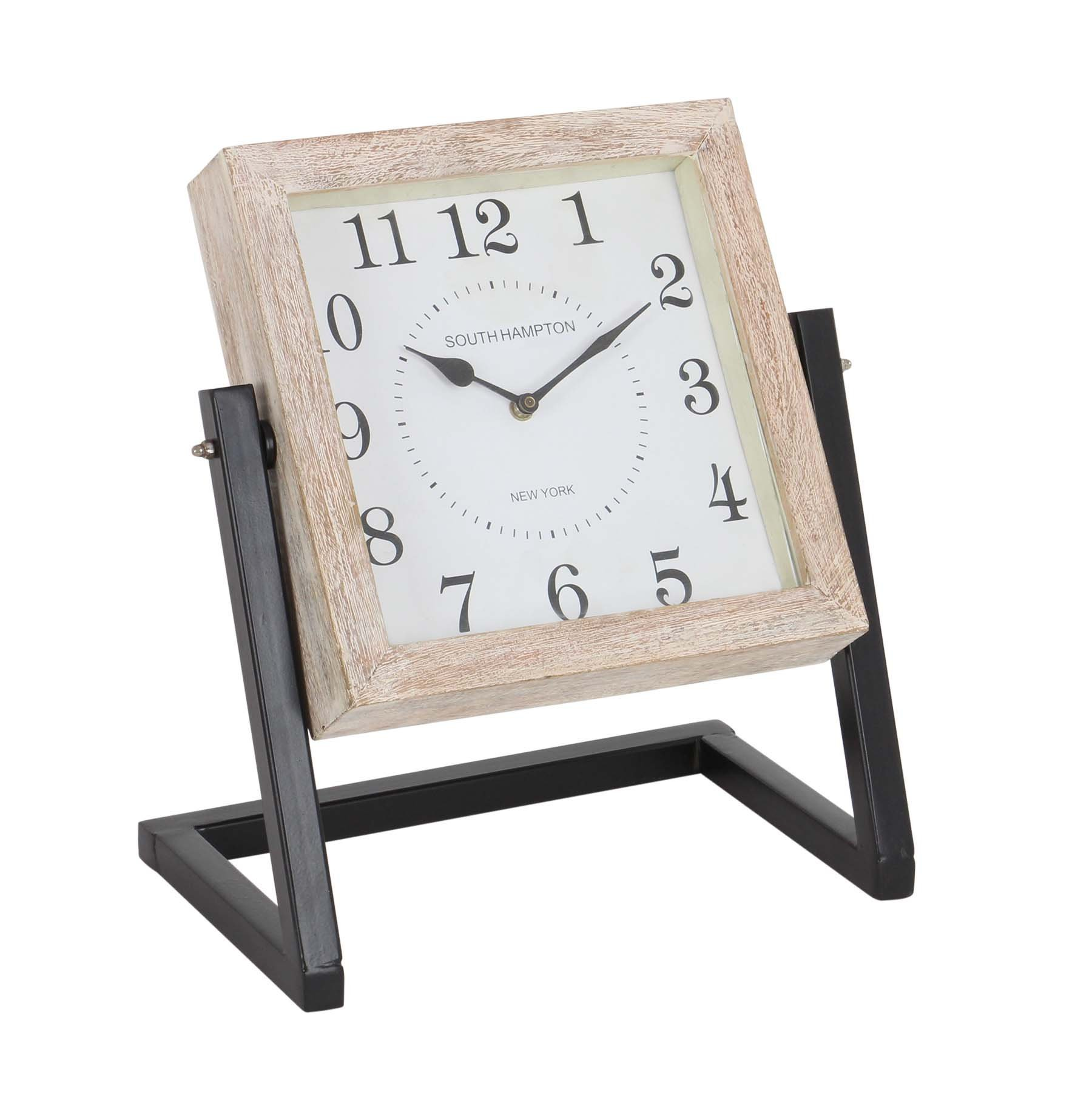 Deco 79 42194 Iron and Mango Wood Swinging Table Clock, 14'' x 12'', Brown/Gray/Black/White by Deco 79 (Image #1)