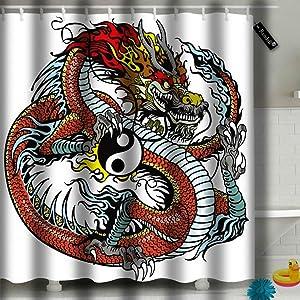 Randell Bathroom Shower Curtain Red Dragon Holding Yin Yang Symbol Tattoo Waterproof Polyester Fabric 60x72