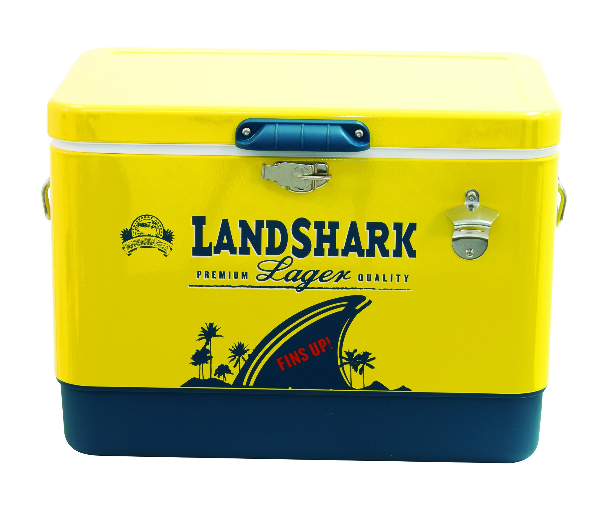 Margaritaville Outdoor ATC54MV-12 Margaritaville Landshark 54 Quart Steel Portable Bottle Opener Cooler, Yellow by Margaritaville Outdoor
