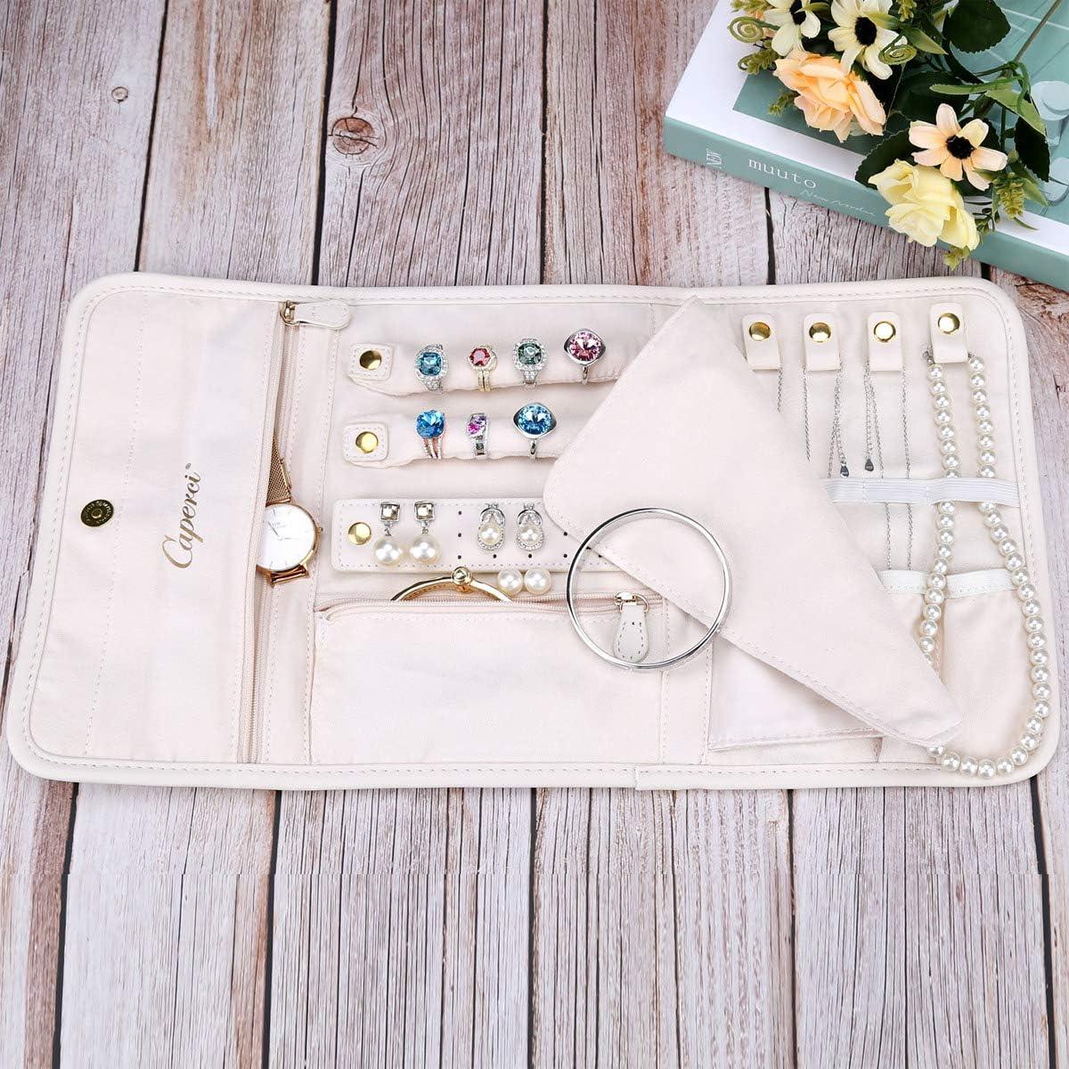Colliers bagues Caperci Organiseur de Bijoux Pliable en Cuir pour Voyage Boucles doreilles Bracelets