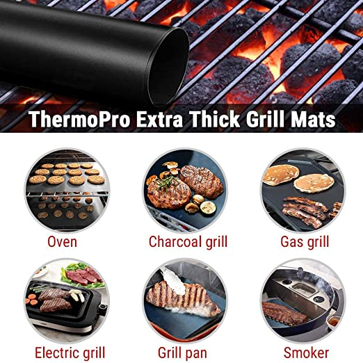 Bremer Man Grill Mat Baking Mat RectangularGlass Fibre TissueNon-Stick3 pieces