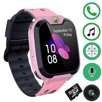 Niños Smartwatch Phone - Juego Inteligente Musica Inteligente Watch de Pantalla Táctil para 3-12 años Niñas con Cámara Ranura SOS Juego para Tarjeta ...