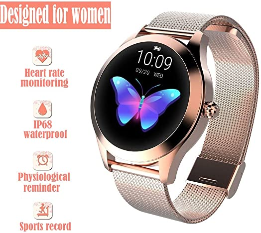 DRENTHE Woman Waterproof Smart Watch, Round Touch Screen IP68 Waterproof Smart Watch, Heart Rate Detector and Fitness Tracker Android iOS Bracelet Designed for Women Color Gold Steel Strip