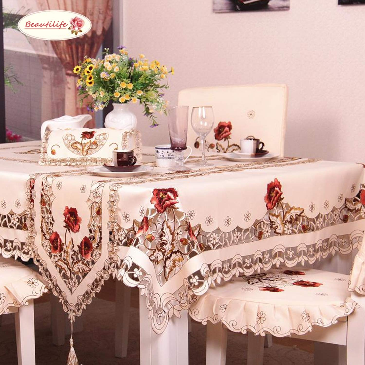 BeautiLife Flower Embroidered Lace Cream Tablecloth Luxury Cutwork Table Cloths Cover Rectangular