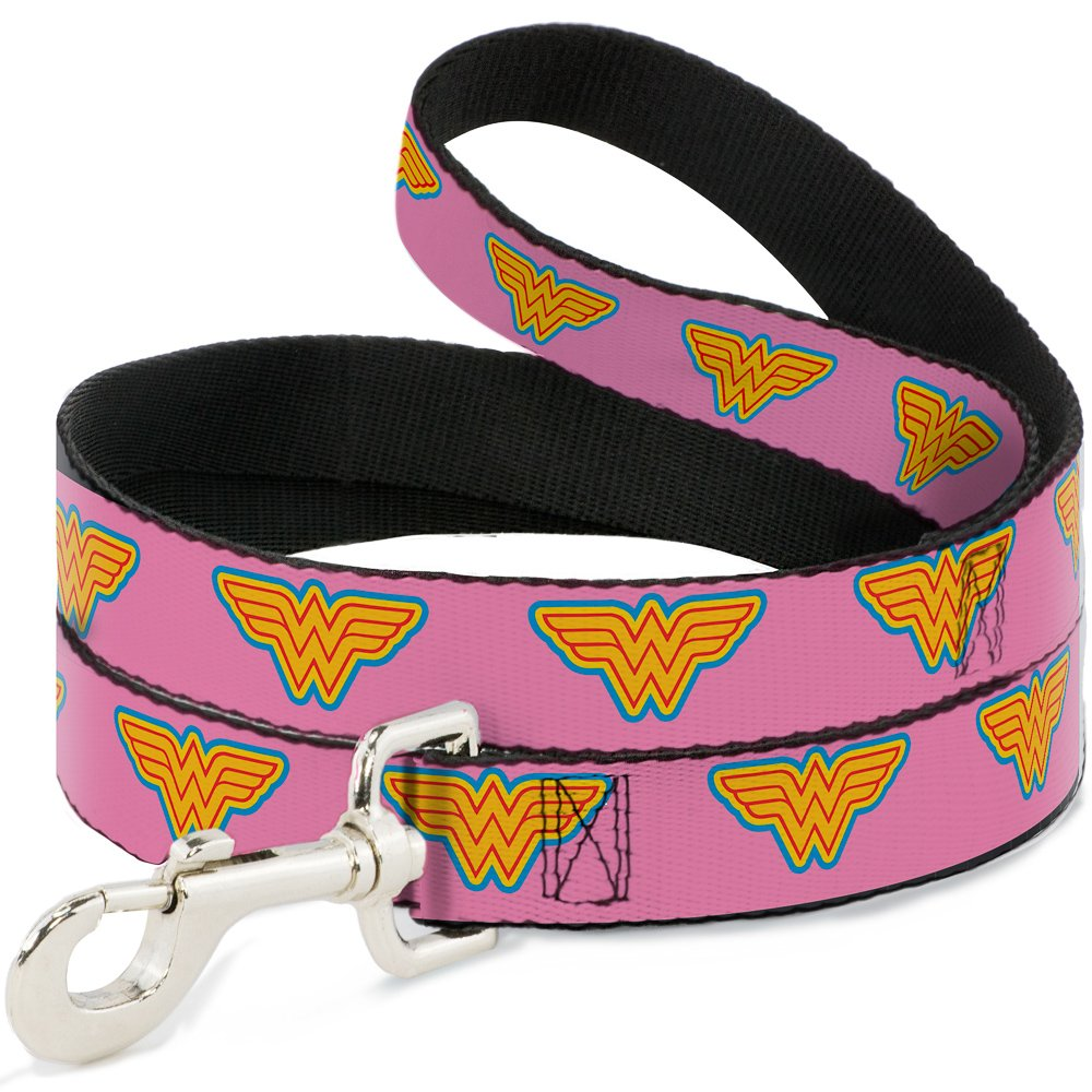 Buckle-Down Dog Leash Wonder Woman Logo Pink Blue Yellow Pink 6 Feet Long 1.5 Inch Wide by Buckle-Down