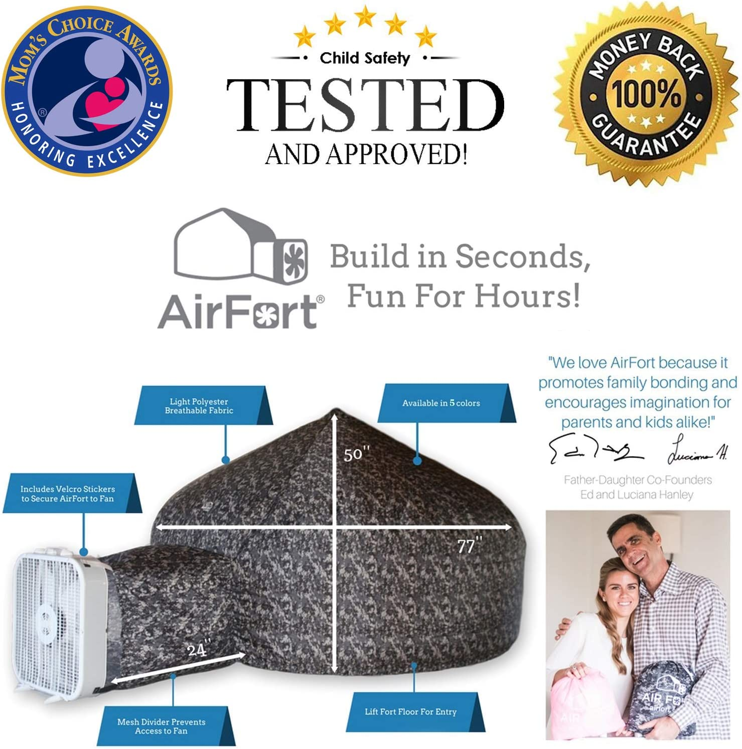 The Original AirFort Build A Fort in 30 Seconds Mod A Inflatable Fort for Kids