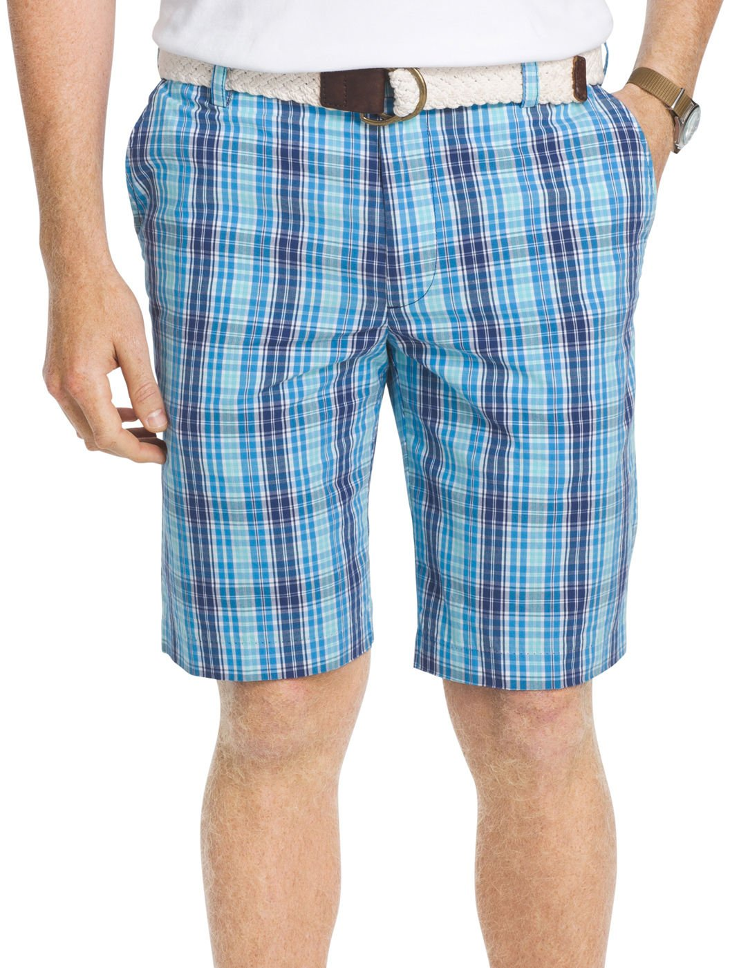 Izod Men's Flat Front Yard Colored Large Plaid Shorts 82SH222