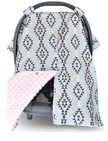 Outstanding Premium Carseat Canopy Cover And Nursing Cover Large Aztec Pattern With Pink Minky Best Infant Creativecarmelina Interior Chair Design Creativecarmelinacom
