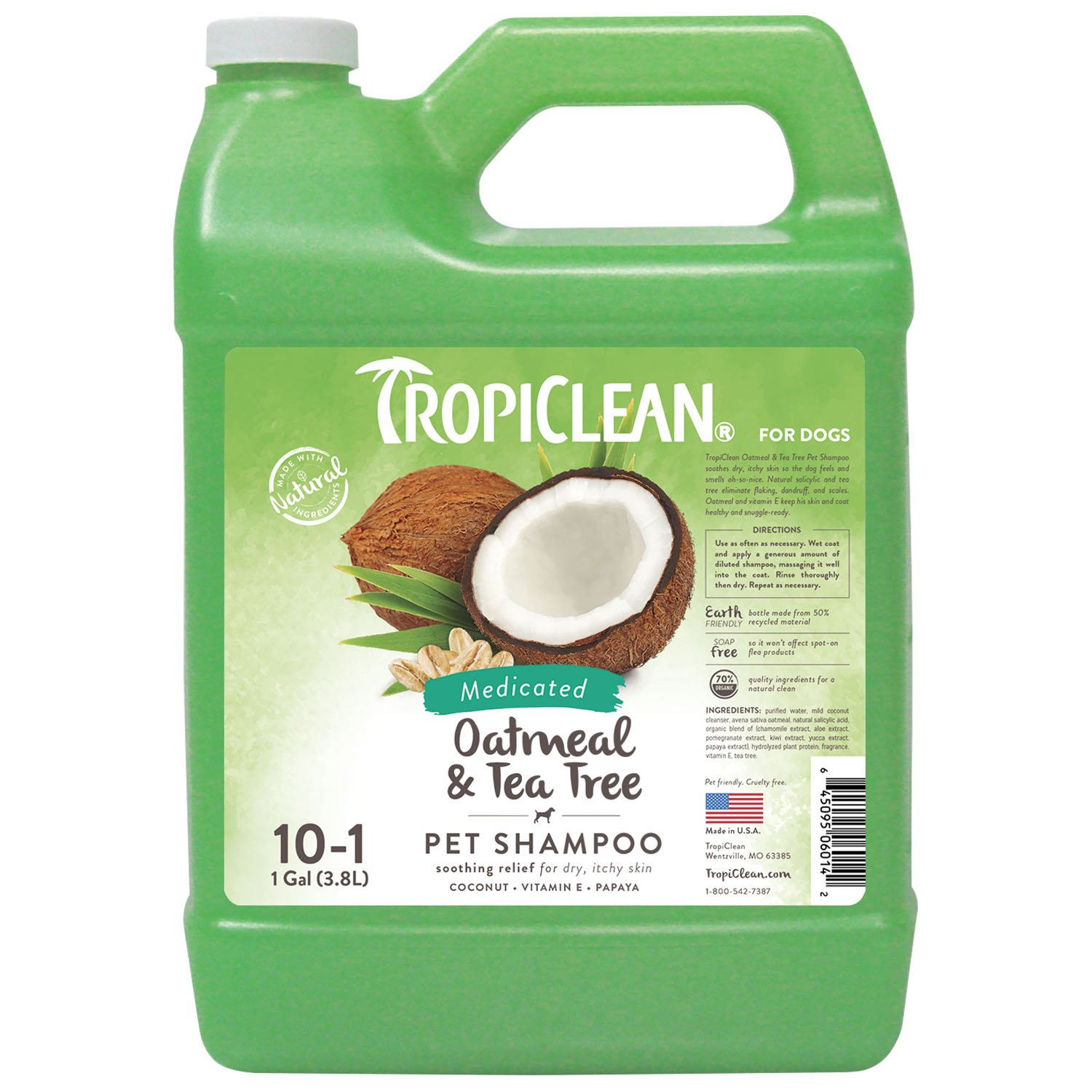 TropiClean Oatmeal and Tea Tree Pet Shampoo Soothes Dry and Itchy Skin Helps Eliminate Flaking Dandruff and Scales 20 oz.