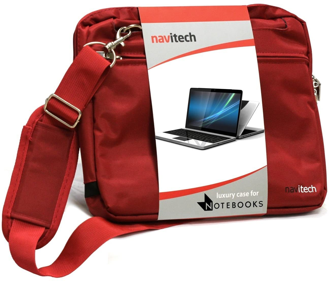Navitech Red Sleek Premium Water Resistant Shock Absorbent Carry Bag Case Compatible with The Acer Aspire R3-131T