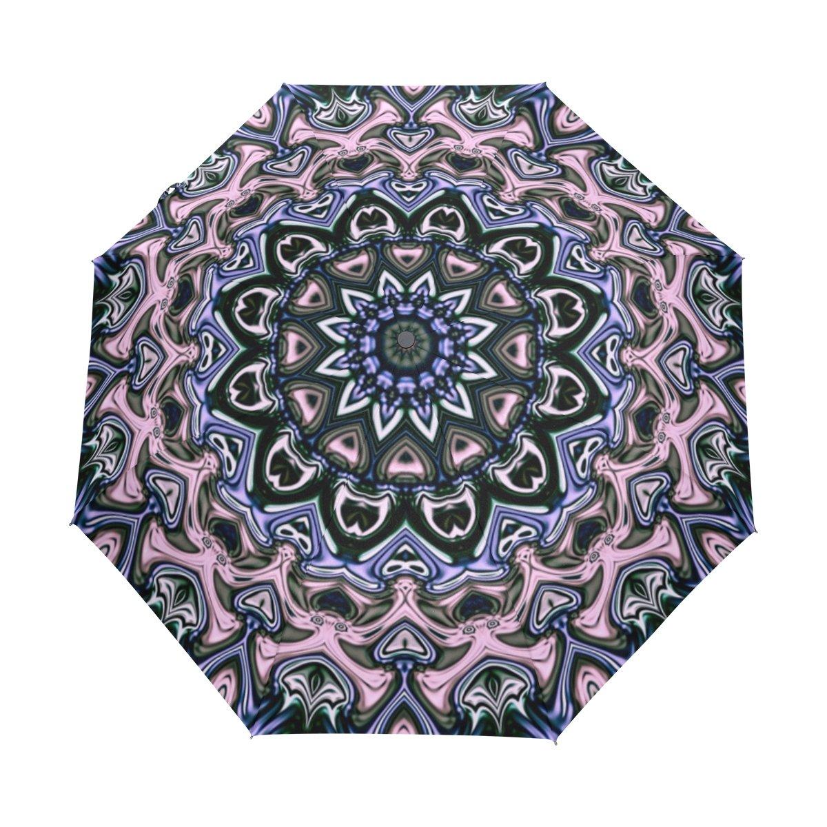 Senya Saobao自動開いて閉じFolding抽象背景で防風と防雨トラベル傘ポータブル折りたたみ式太陽雨傘 B07FMBHFRW