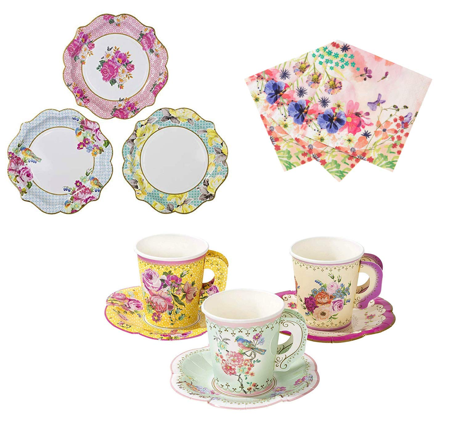 Talking Tables Vintage Tea Party Supplies | Floral Paper Party Plates, Napkins, Tea Cups and Saucer Sets | Great for Tea Parties, Weddings, Bridal Showers, Baby Showers and Birthday Parties