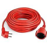 SIMBR Cable alargador de corriente IP20 H05VV Alargador cable de gran calidad 10m 15m 20m 30m Color rojo (15m)