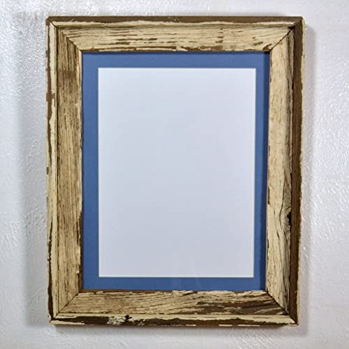 Amazoncom Shabby Chic Wood Photo Frame With Light Blue Mat For