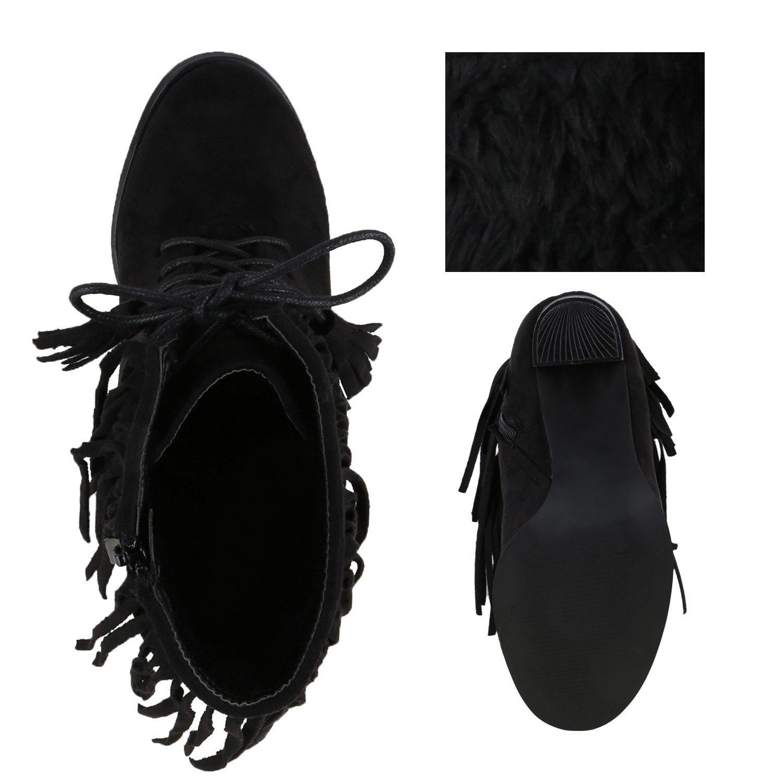 Schnürstiefeletten Damen Fransen Quasten Stiefeletten Schuhe 128177 Schwarz 40 Flandell NrXEpH