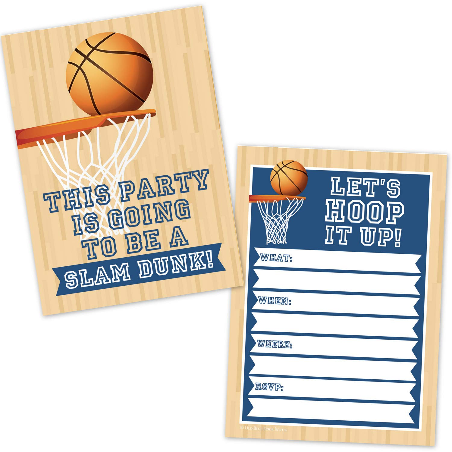 Basketball Birthday Party Invitations For Kids 20 Count With Envelopes Boys Sports Basketball Party Supplies Hoops Slam Dunk Invites