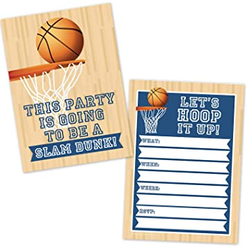 Amazon Com Basketball Birthday Party Invitations For Kids 20 Count