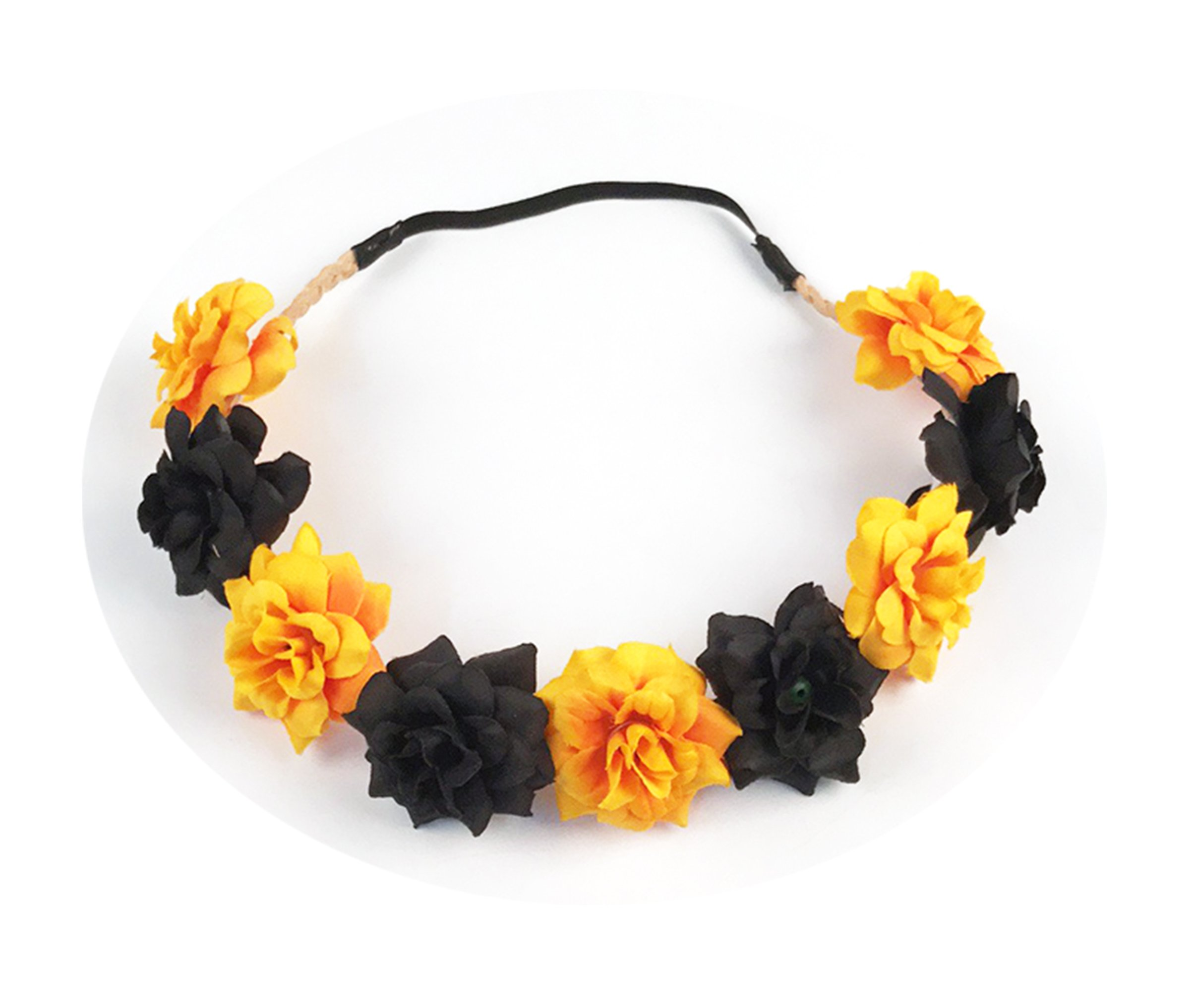 Best Wing Yellow Black Halloween Floral Flower Crown Stretch Headband