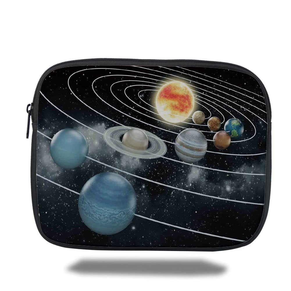 Laptop Sleeve Case,Galaxy,Solar System All Eight Planets and the Sun Pluto Jupiter Mars Venus Science Fiction,Black Grey,iPad Bag