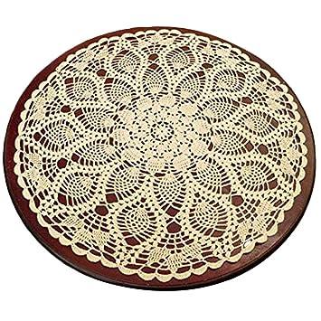 Yizunnu - Mantel Redondo de Encaje y Ganchillo, diseño Vintage, 60 cm, Color Blanco: Amazon.es: Hogar