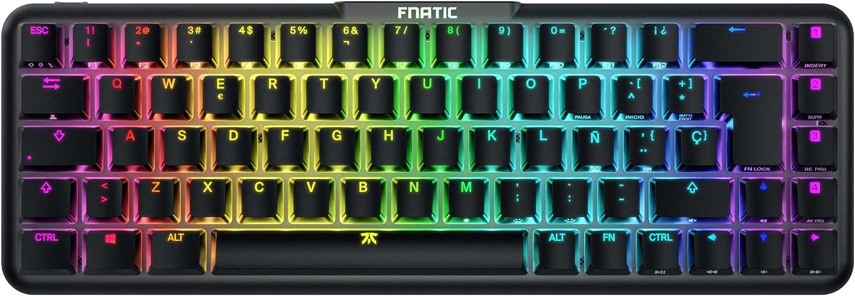 FNATIC STREAK65 - Teclado Mecánico Compacto para Juegos RGB Retroiluminación LED - Interruptor Lineal Speed, Silencioso - Diseño del 65% (60 65) - ...