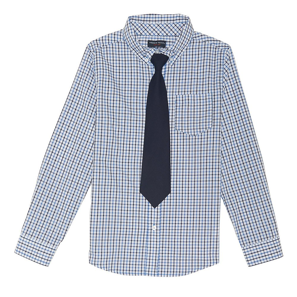 French Toast Toddler Boys' Long Sleeve Dress Shirt with Tie, Blue Check, 2T