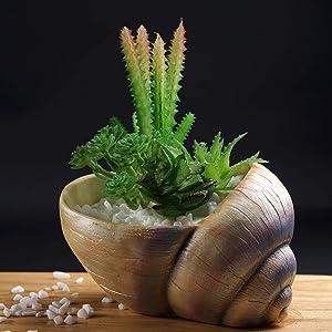 OwMell Creative Glitter Conch Seashell Shaped Succulent Pot Flower Planter Pot Resin 5.5 inch