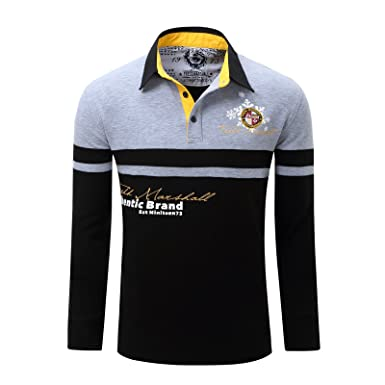 23c0c5147 Image Unavailable. Image not available for. Colour  Men s Cotton Long Sleeve  Embroidered Premium Classic Polo Shirts Golf Tops Grey M