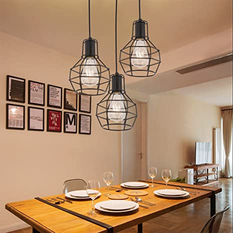 Vintage Birdcage Style Pendant Light Edison Industrial Lamp Iron Light  Fixture Mesh Cover Hanging Lighting For