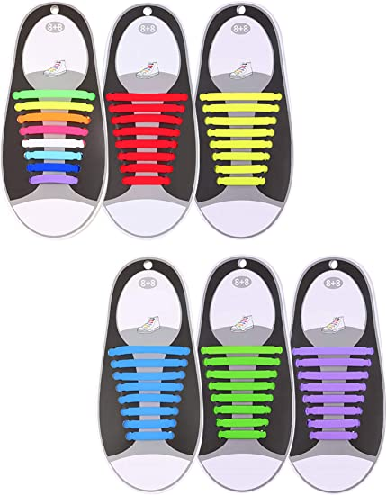 4 Pairs No Tie Shoelaces for Kids and Adults,Waterproof Silicone Sports Shoelace