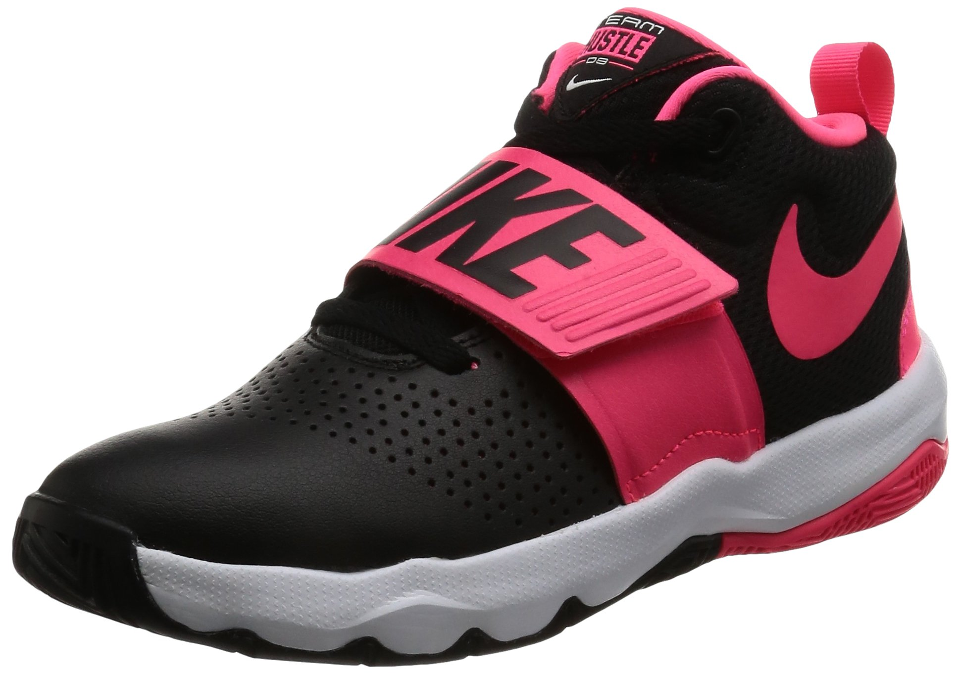 Nike Team Hustle D 8 (GS) Sneaker, Black/Racer Pink-White, 6.5Y Regular US Big Kid