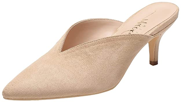 Mackin J G224-1 Women Pointed Toe Slip On Kitten Low Heel Mules Pumps Slides Nude 6
