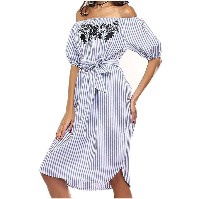 Vestido de Mujer, Lananas 2018 Mujer Verano Fuera del Hombro Manga Corta Bordado de Rosas Raya Azul Playa Fiesta Vestir Cóctel Dress: Amazon.es: Ropa y ...