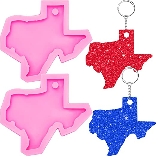 USA Map Silicone Molds for Resin LETS RESIN States Keychain Resin Molds 2PCS Silicone Molds with 18 States Keychain Molds for Epoxy