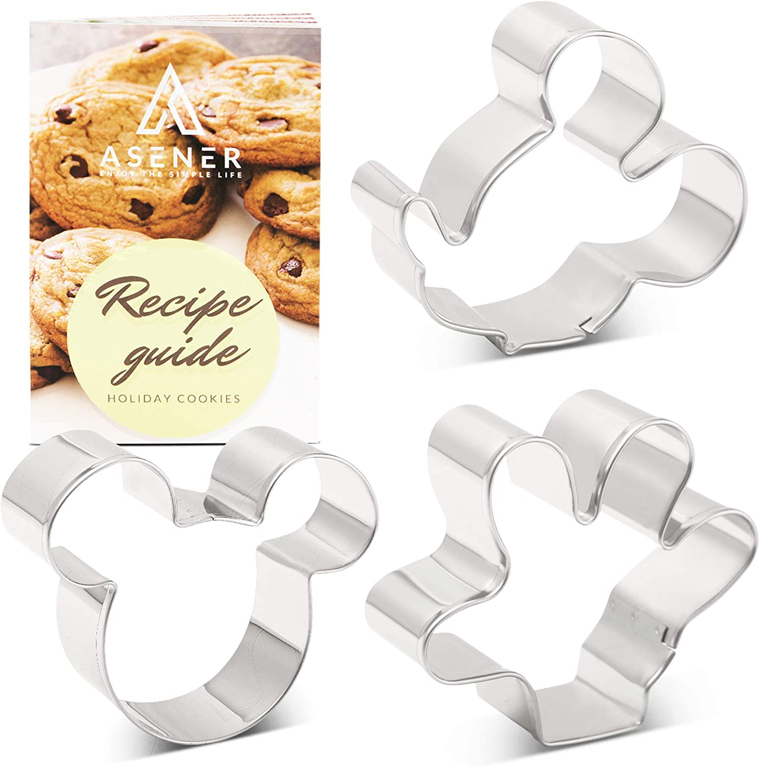 Asener Mickey Mouse Cookie Cutters Set [3-Piece] - Tin Plated Steel, Perfectly Designed, Mickey Mouse Ears, Mickey Side Face and Palm, 3 inch Durable Cookie Cutter with Recipe Book