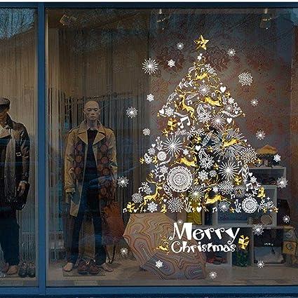 Image Vitrine Noel.Joyeux Noel Noel Cerf Flocon De Neige Autocollants Muraux